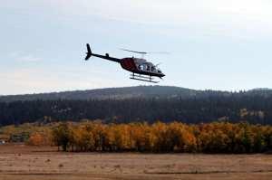 Heli Yoga - helicoptero partindo com um outro grupo