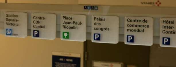 Roteiros de Montreal - transporte e placas de localisação do RES