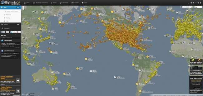 FlightRadar24 - acompanhando vôos do mundo todo