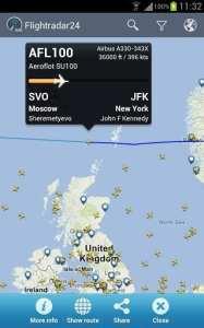 FlightRadar24 PRO - detalhes do vôo como distância percorrida