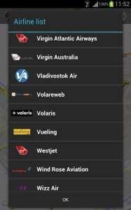 FlightRadar24 PRO - filtre por companhia aérea