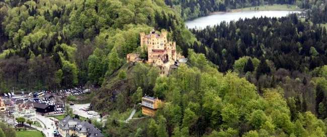 Castelos da Alemanha - Vista aérea do Castelo Hohen Schwangau
