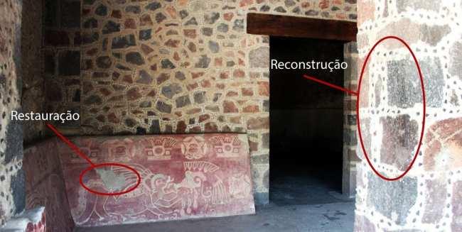 Teotihuacán - reconstrução, restauro e original