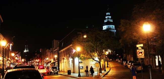 O que fazer em Annapolis - Main Street de noite