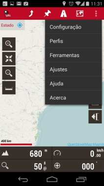 Melhor app de mapas offline - OruxMaps Menu