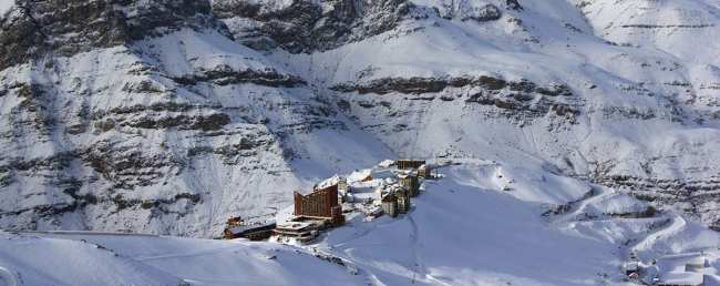 Guia de Valle Nevado - Complexo do resort no meio da montanha