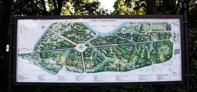Tiergarten de Berlim - mapa