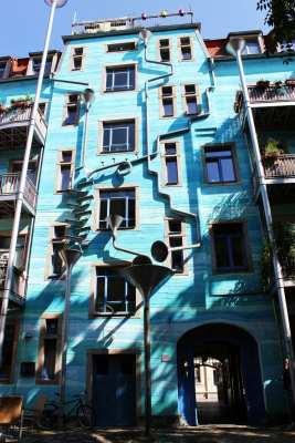 Dicas de viagem a Dresden - Cidade Nova Neustadt prédio bonito na Kunsthof-Passage