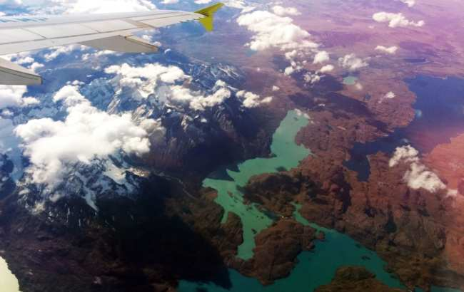 Como é voar de Sky Airline - Vista aérea de Torres del Paine