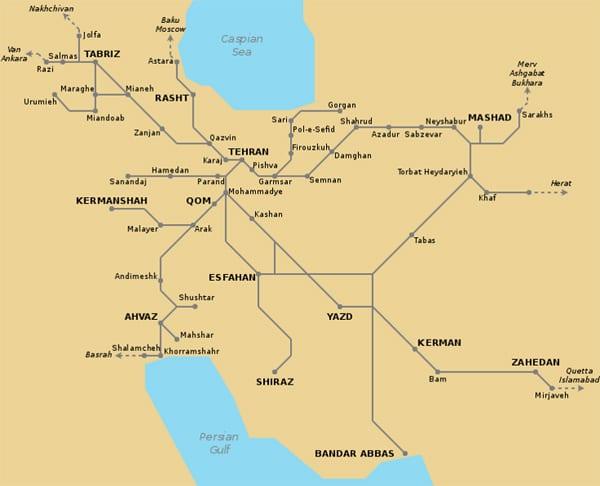 Ferrovias iranianas. Arte: Johannes Heger - iranrail.net