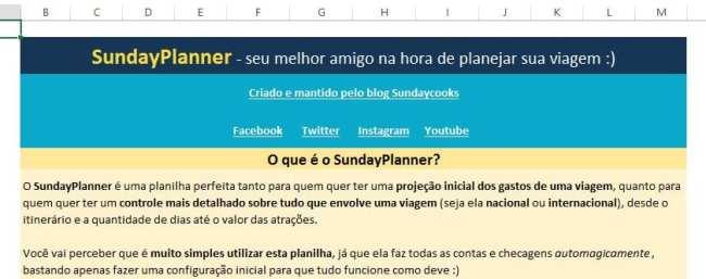 Planilha de gastos de viagem SundayPlanner - 1