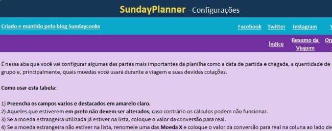 Planilha de gastos de viagem SundayPlanner - 2