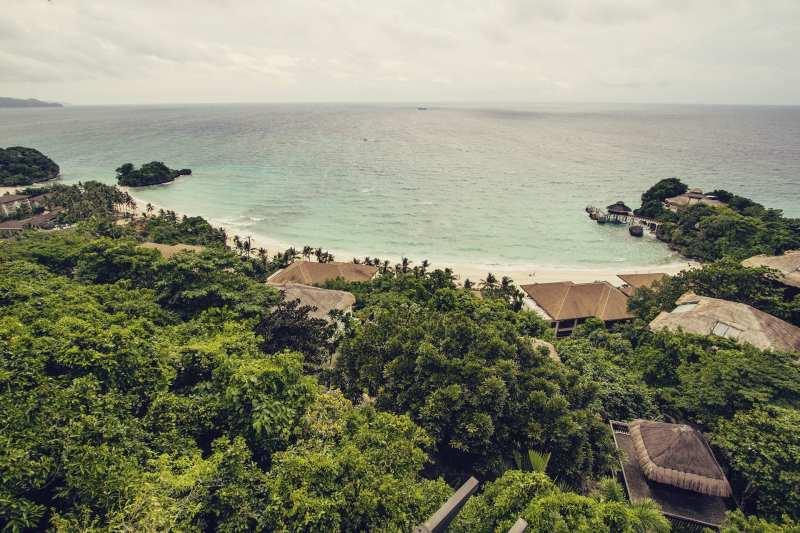 Vista das cabanas do Shangri-la Boracay