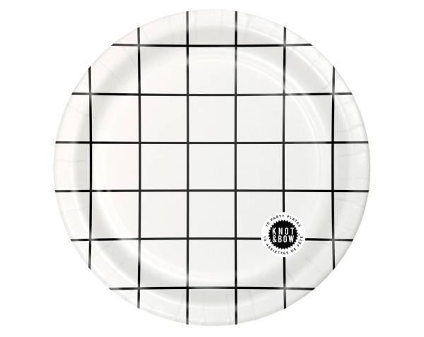 Anniversaire Minimaliste - Assiettes à carreaux Noir et Blanc 1