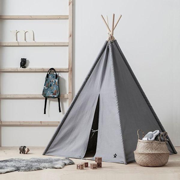 Kid's Concept - Tipi en tissu gris et bois naturel Neo 1
