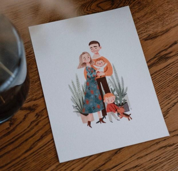 Cadeaux de naissance originaux - un portrait de Famille // Crédit - illustration de Aurelien Galvan