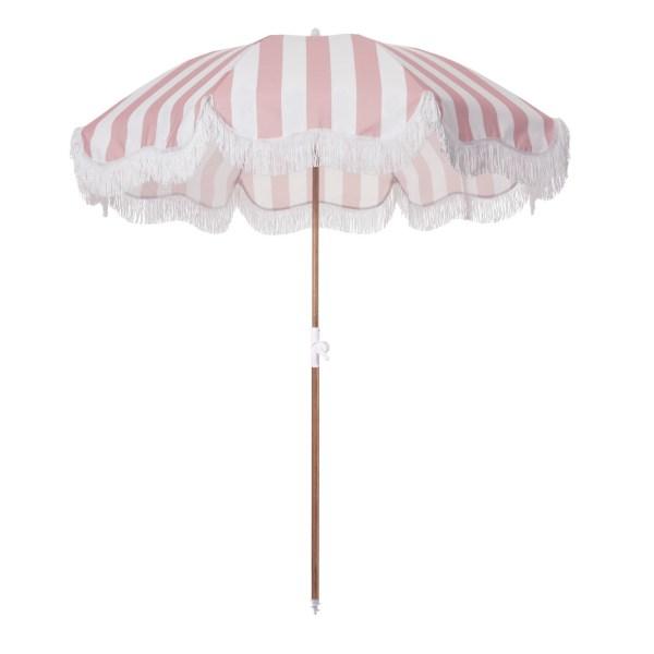 Business & Pleasure Co. - Parasol frangé rayé rose et blanc - Blog famille Sunday Grenadine