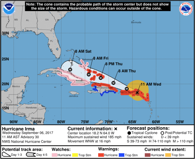 In this storm path map, the eye of Irma sat just east of the British Virgin Islands, lashing the islands with maximum sustained winds of nearly 200 miles per hour. Courtesy of NOAA.