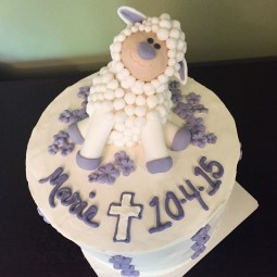 Baptism Cake with fondant lamb