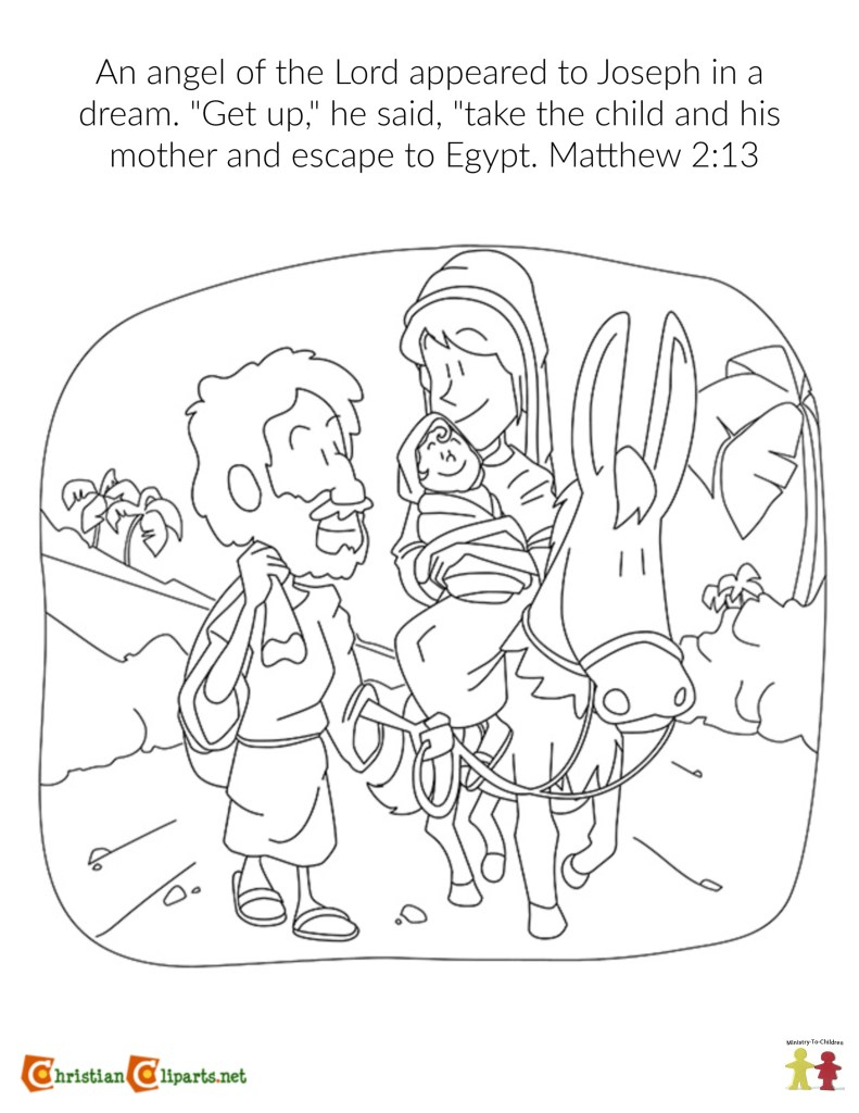 Matthew 2:13 Coloring Page - Escape to Egypt