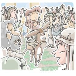 Jesus riding a donkey into Jerusalem on Palm Sunday