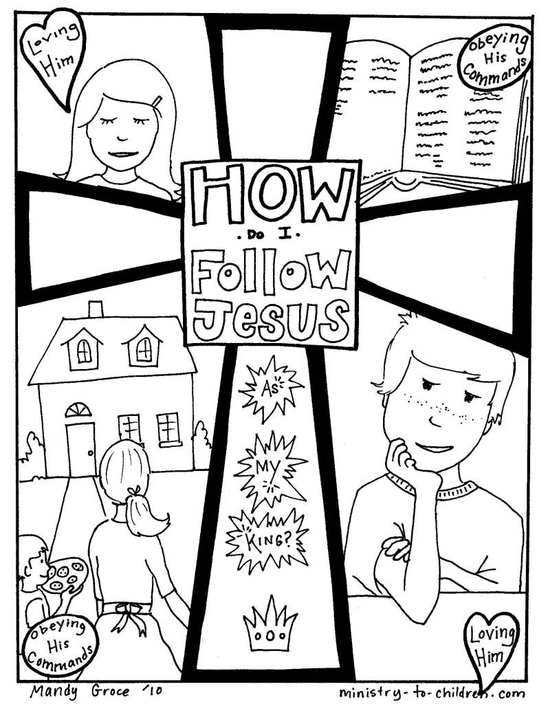 How to follow Jesus coloring page