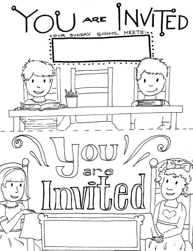 you're invited to sunday school coloring page
