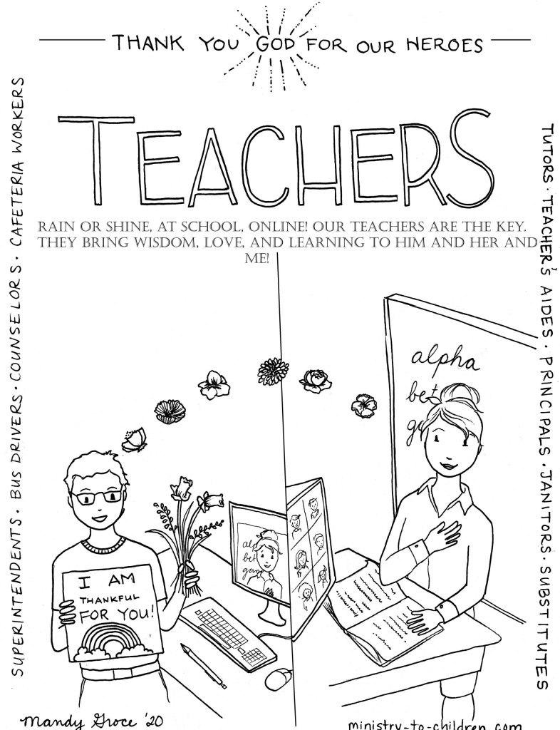 Virtual teachers are Heroes Coloring Page