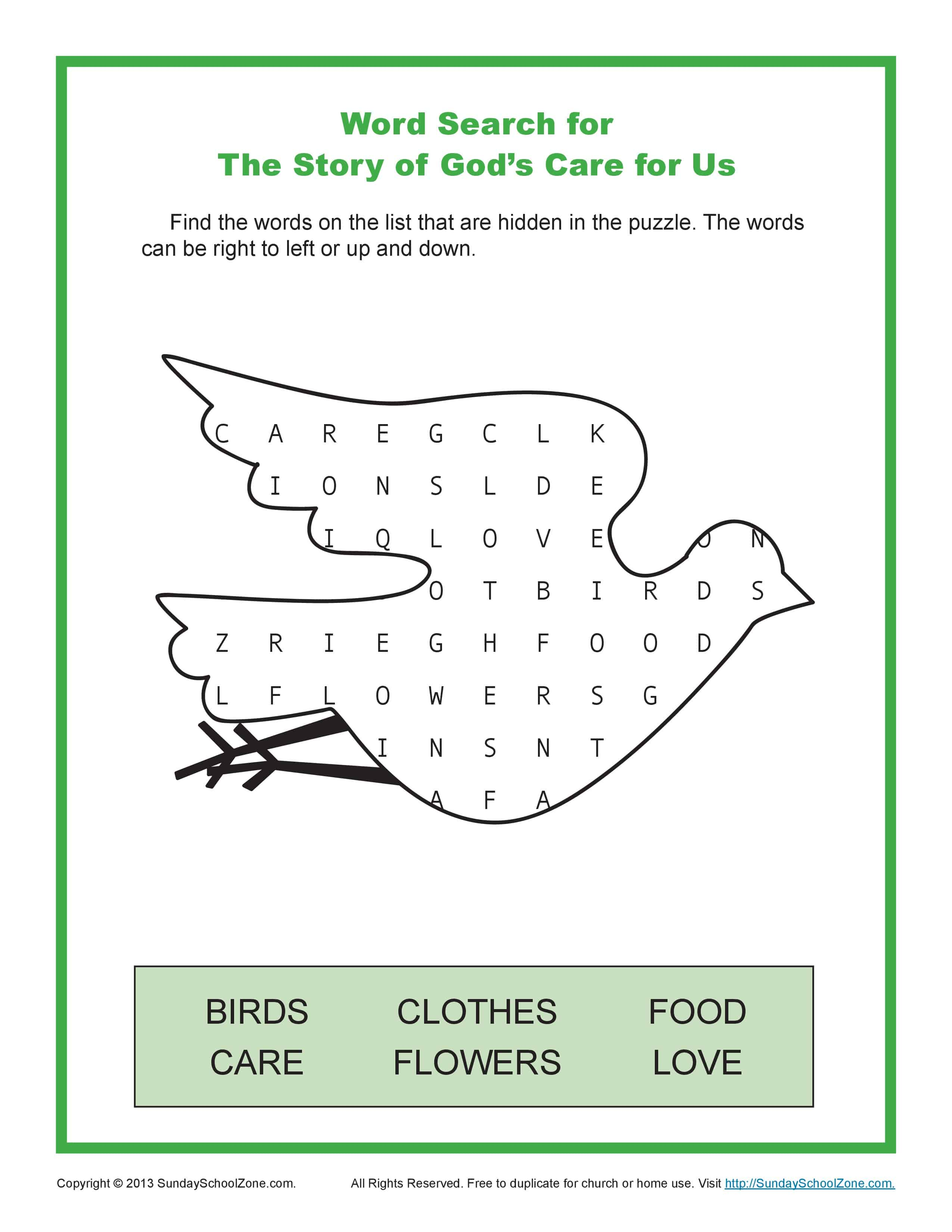 Story Of God S Care For Us Word Search