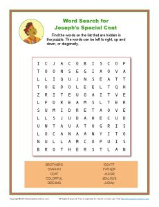 Josephs Special Coat Word Search Bible Activity Pages