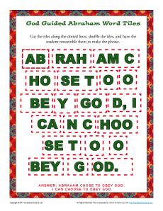 God Guided Abraham Word Tiles Bible Phrase Puzzle For