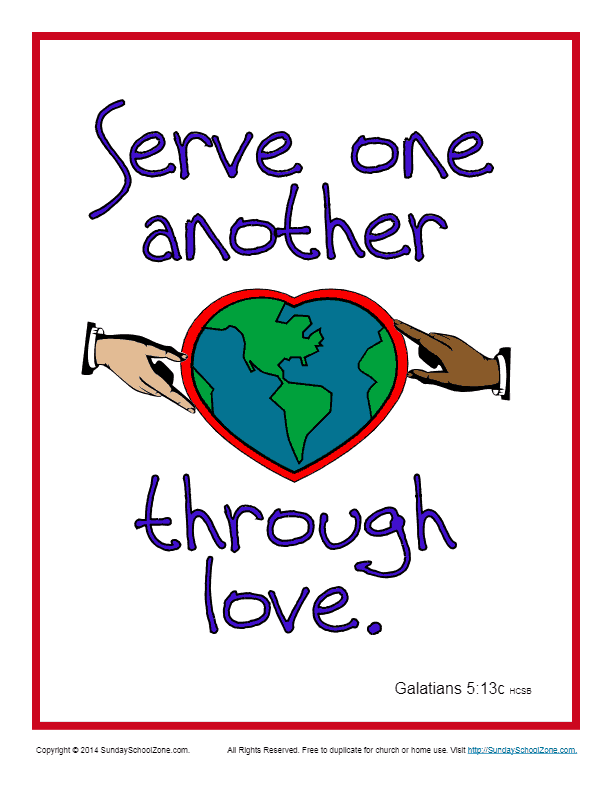 Serve one another through love scripture page sunday, love one another coloring page