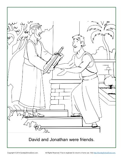 David And Jonathan Were Friends Coloring Page Childrens