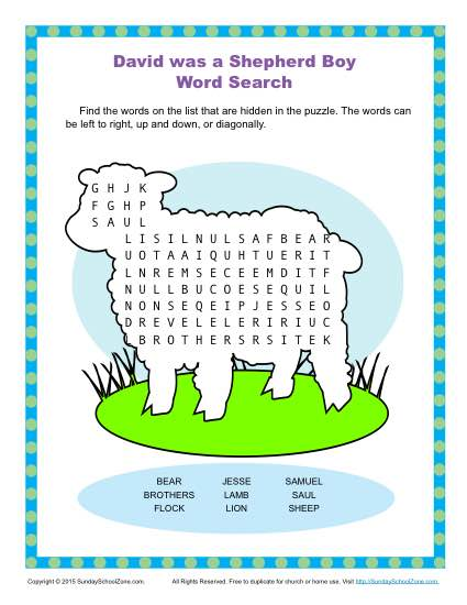 David Was A Shepherd Boy Word Search Childrens Bible