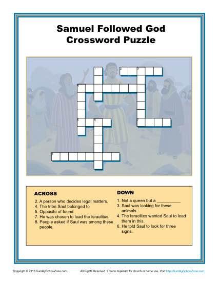 Samuel Followed God Crossword Puzzle Childrens Bible