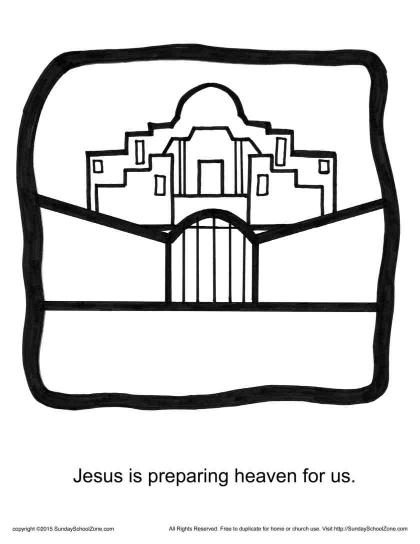 jesus is preparing heaven for us story icon coloring page