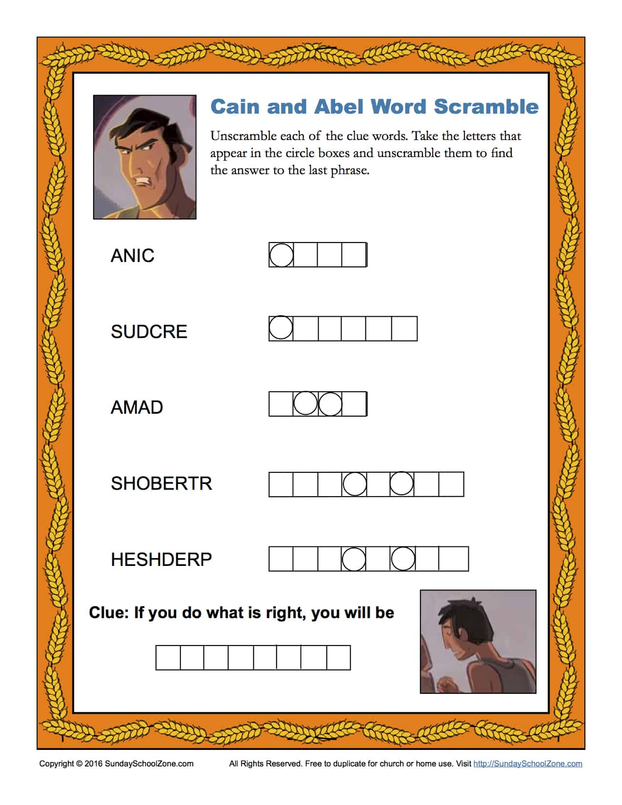 Cain And Abel Word Scramble