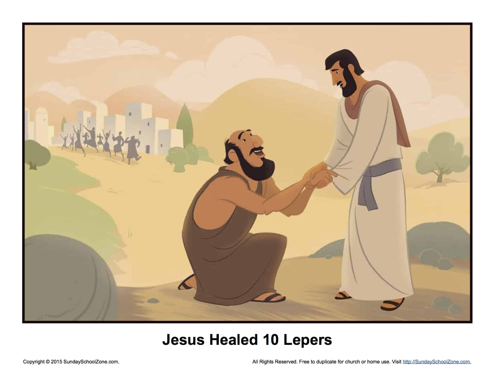 Jesus Healed Ten Lepers Story Illustration Childrens