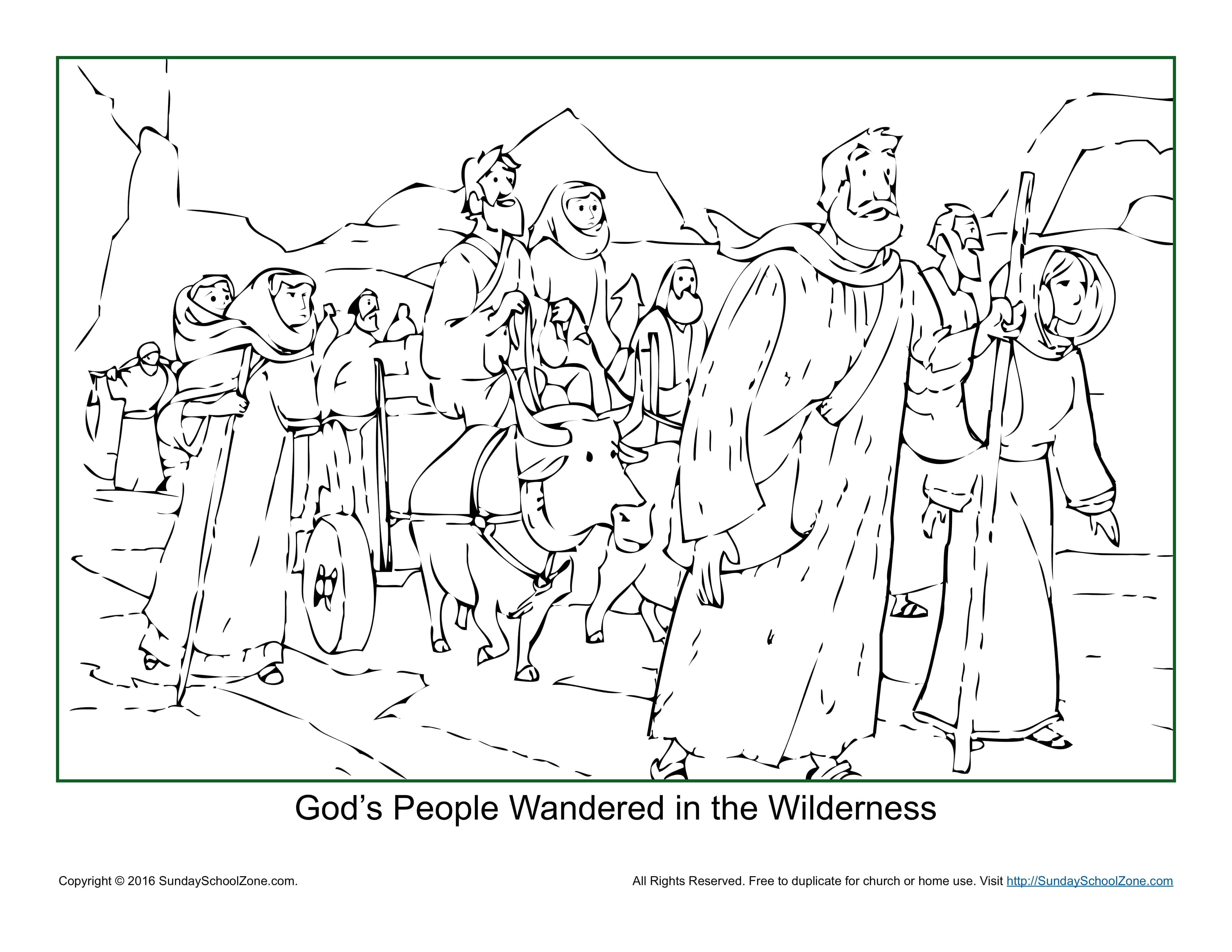 God S People Wandered In The Wilderness Coloring Page