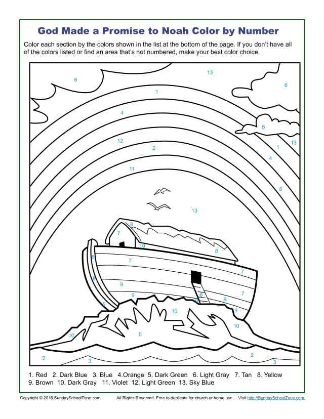 Color by Number Bible Coloring Pages on Sunday School Zone