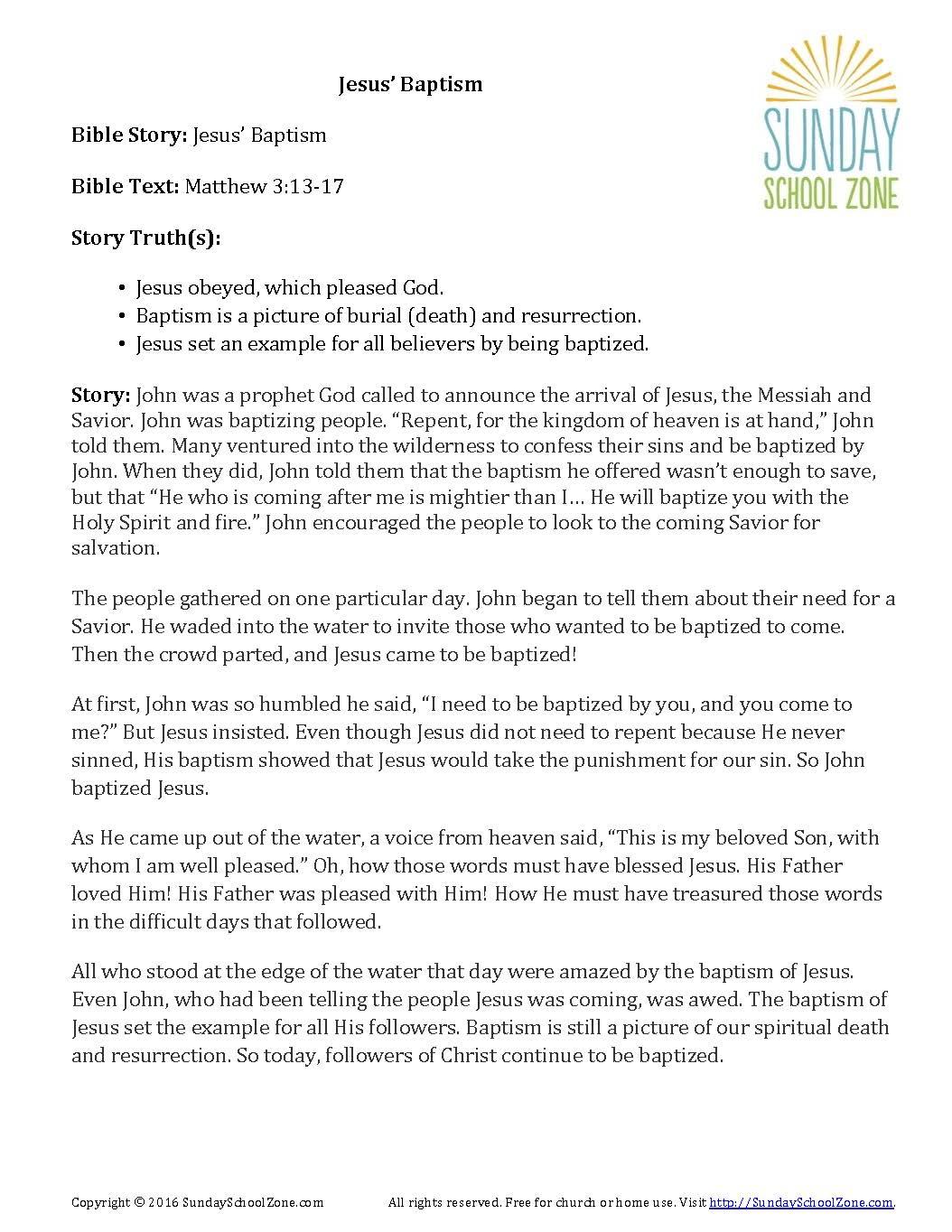 Jesus Baptism Story Summary