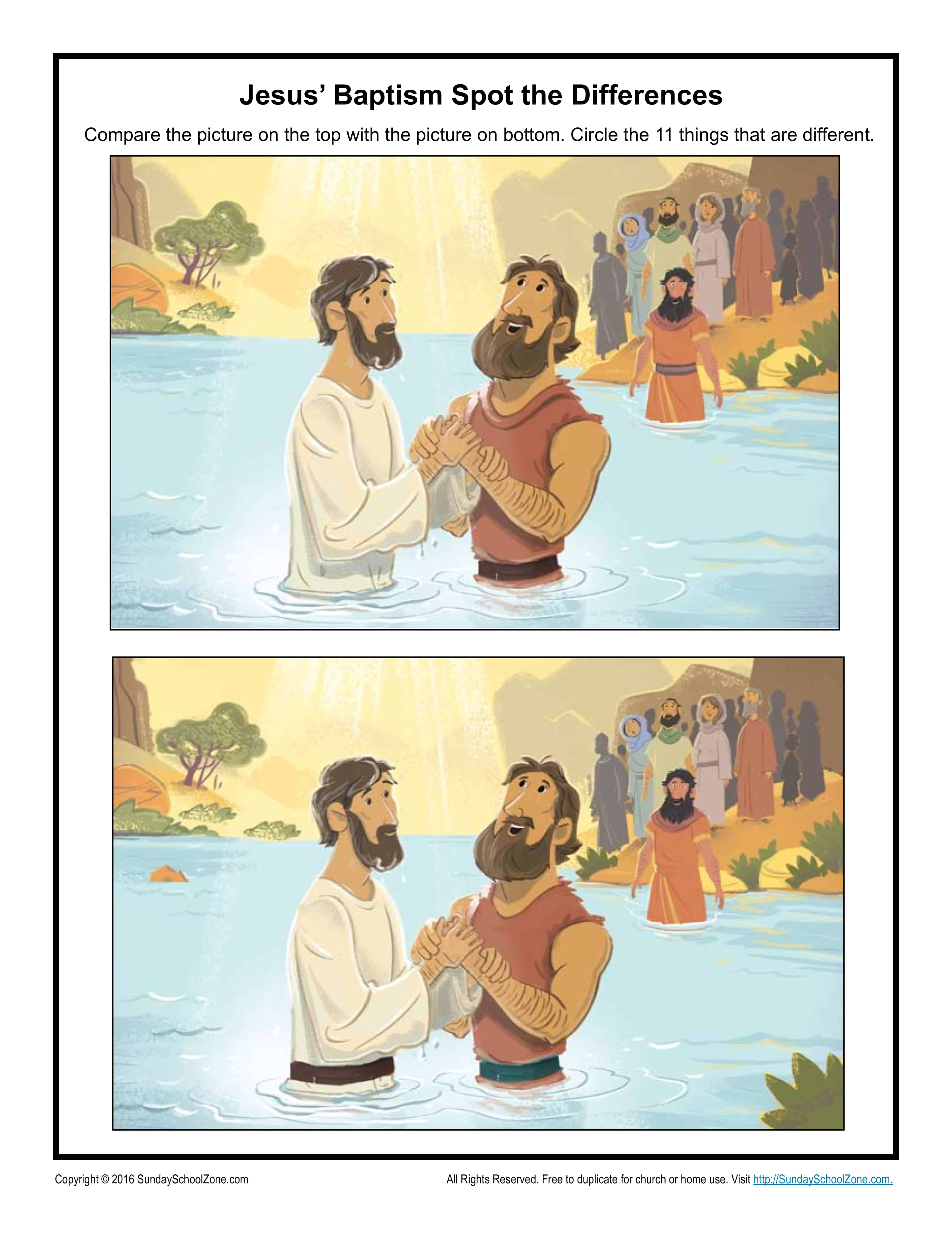 Jesus Baptism Spot The Difference