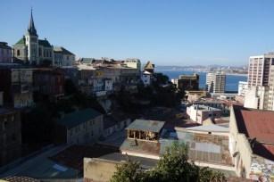 Vue de Valparaiso de l'ascensor Peral