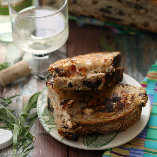 Grilled Goat Cheese with Tomato and Tarragon on Olive Bread by Heather Schmitt-Gonzalez of girlichef