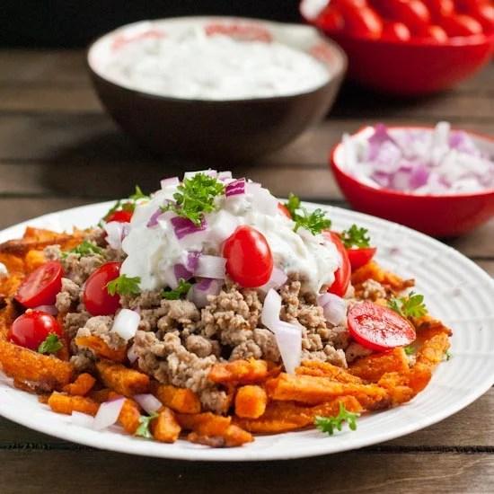 Loaded Mediterranean Sweet Potato Fries with Tzatziki