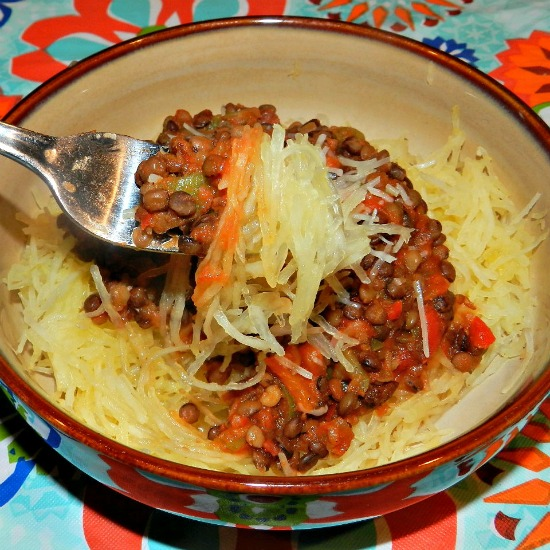 Spaghetti Squash w/ Spicy Lentil Sauce