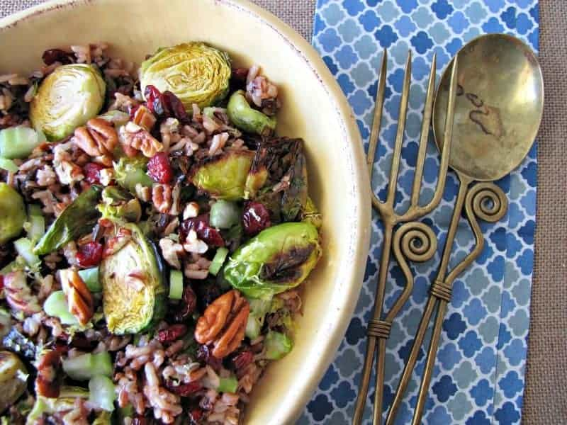 Roasted Brussels Sprouts and Wild Rice Salad #SundaySupper