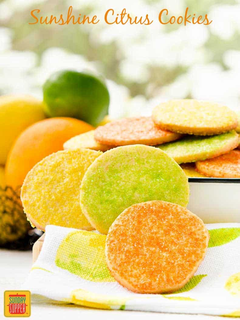 Sunshine Citrus Cookies are buttery, crispy, and flavored with fresh orange, lemon, and lime. The Cookie Jar | Sunday Supper Movement