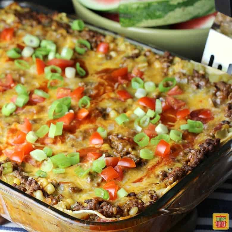 Mexican Lasagna with Corn Tortillas in a baking dish