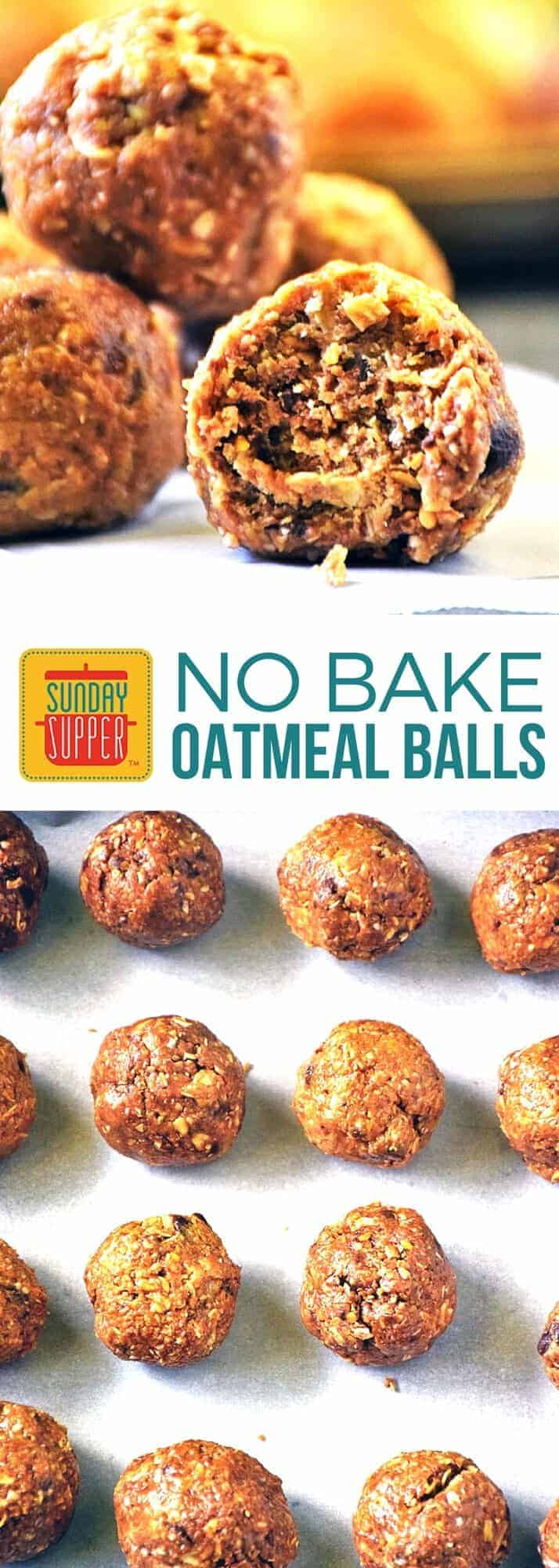 Little balls of heaven! No Bake Oatmeal Balls loaded with protein & other good-for-you stuff are one of our Best After School Snacks! Your kids will ask for these again and again never knowing how healthy they are. Full of flax seed, oats, peanut butter, honey, & a little bit of chocolate chips, these no bake oatmeal balls make the perfect anytime snack!
